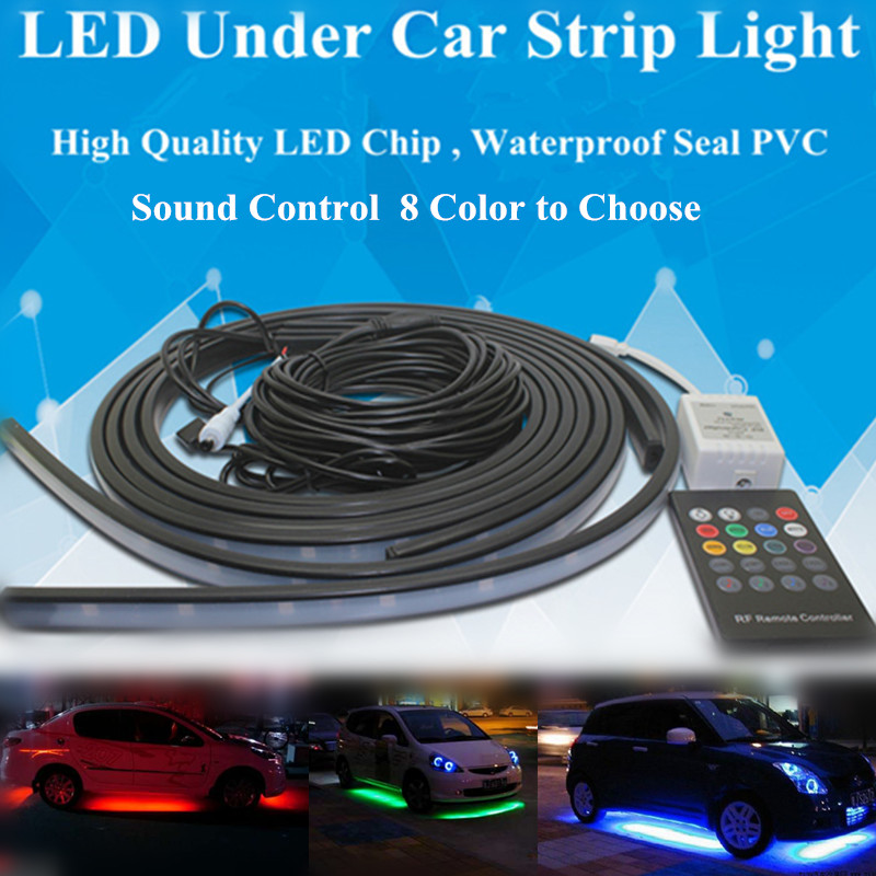 5050 LED Sound Control RGB Flash Strip Tube Light Kit Under Car Glow Underbody System Wireless Remote Waterproof 2x60+2x90/2x120 night lord ip68 waterproof 90 120 colorful led under car light rgb chip auto chassis light kit with remote control free shipping