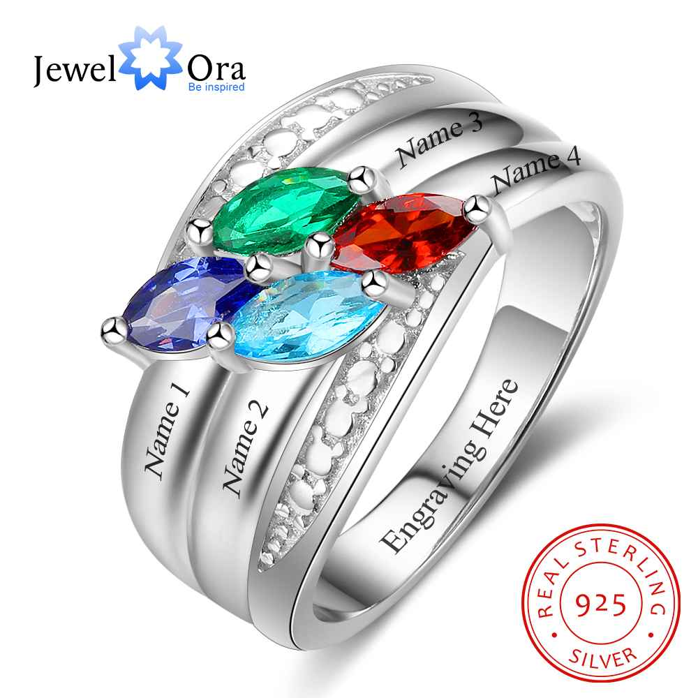 Personalized Gift for Mom Engrave 4 Names Childrens Birthstone Promise Rings 925 Sterling Silver Jewelry (JewelOra RI103282)