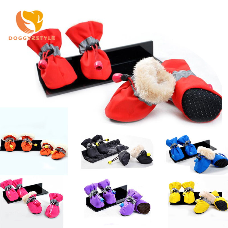 Reflective Pet Dog Shoes Waterproof Winter Anti-slip Snow Boots Fleece Warming Soft Shoes For Small Large Dogs DOGGYZSTYLE