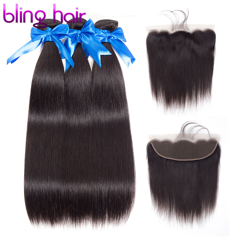 Bling Hair Straight Hair 3 bundles with Closure 13 4 Lace Frontal Brazilian Hair Weave Bundles