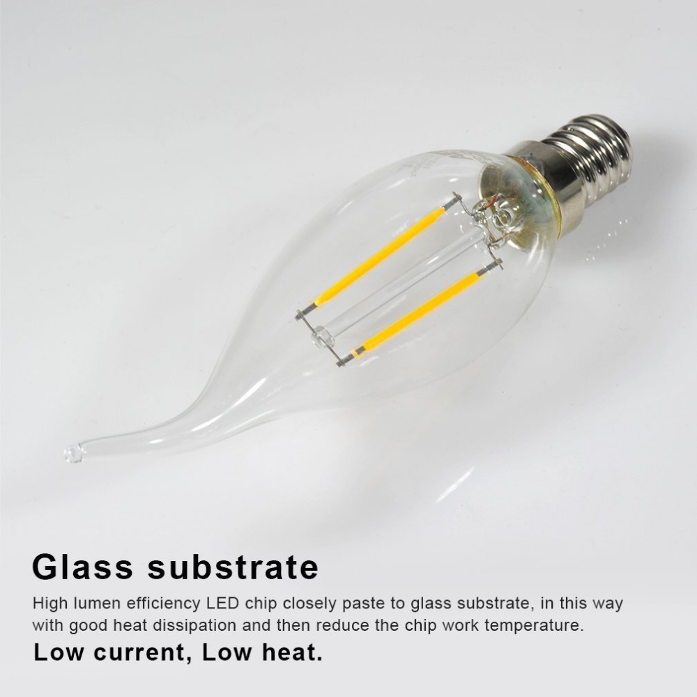 Купить с кэшбэком HRSOD 4 X E14 2W  2 COB 3000K 200LM Warm White Light Led Candle Bulb,Non-dimmable Spot Bulb  Ampoule LED (AC220V)