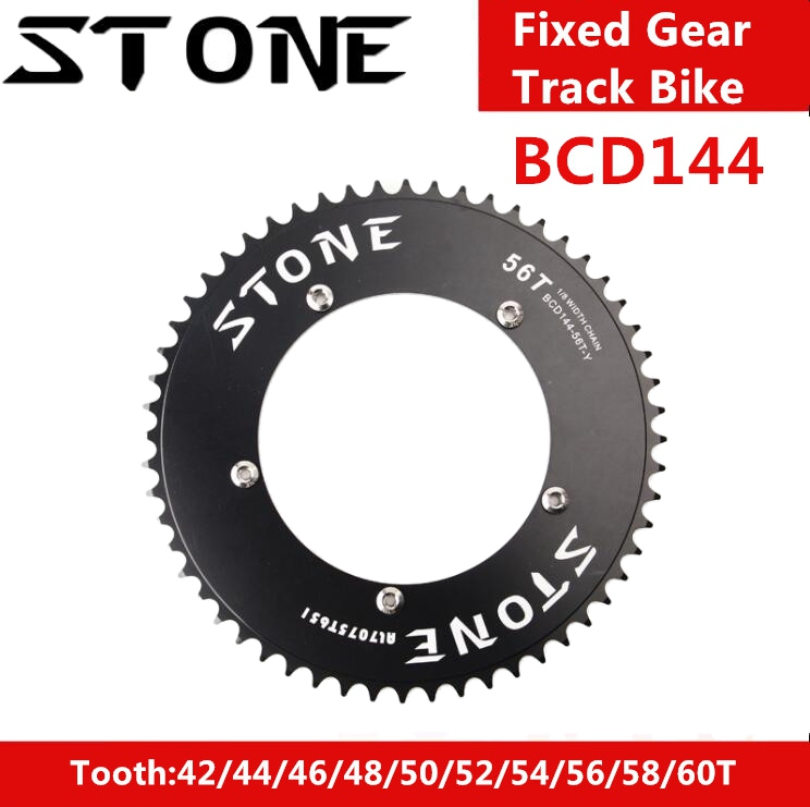 Stone 144 BCD Aero Chainring Fixed Gear Track Bike Fixie Round 42T 46T 47T 48T 50T