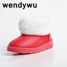 WENDYWU 2017 winter plus velvet snow boots Russia leather warm pink boots PU boys and girls casual boots size25-36 top quality
