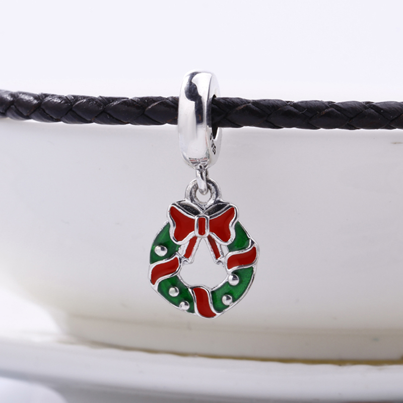 100% 925 Sterling Silver Holiday Wreath Pendant Charm Fit Original Pandora Bracelet DIY Charms Beads for Jewelry Making