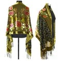 Army Green Chinese Women's Velvet Silk Beaded Embroidery Shawl Scarf Peafowl Free Shipping WS-082