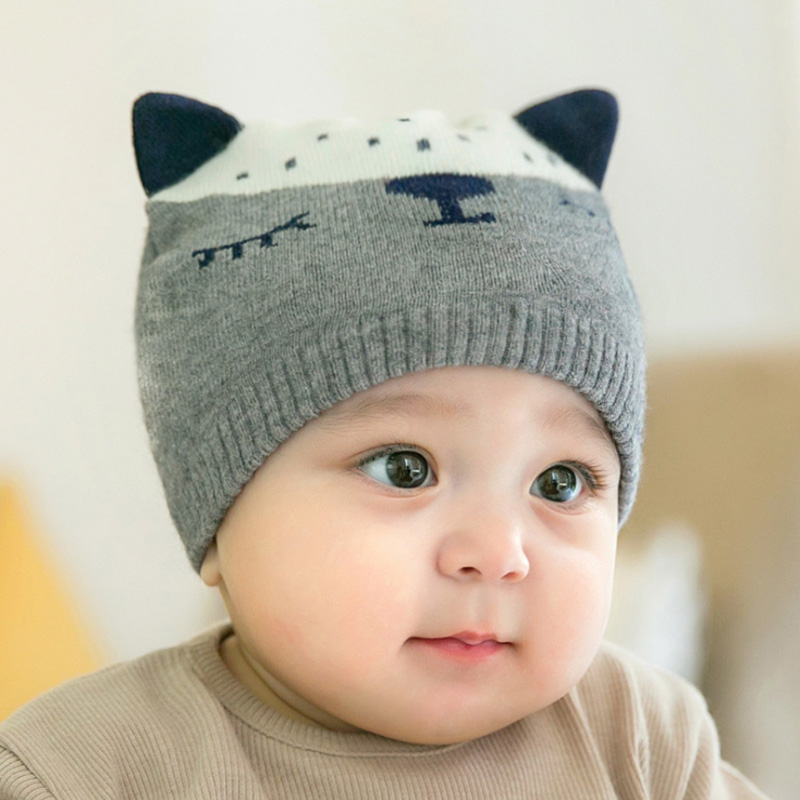 Fox Pattern Baby Knitted Hats Boys Girls Lovely Style Winter Warm ...