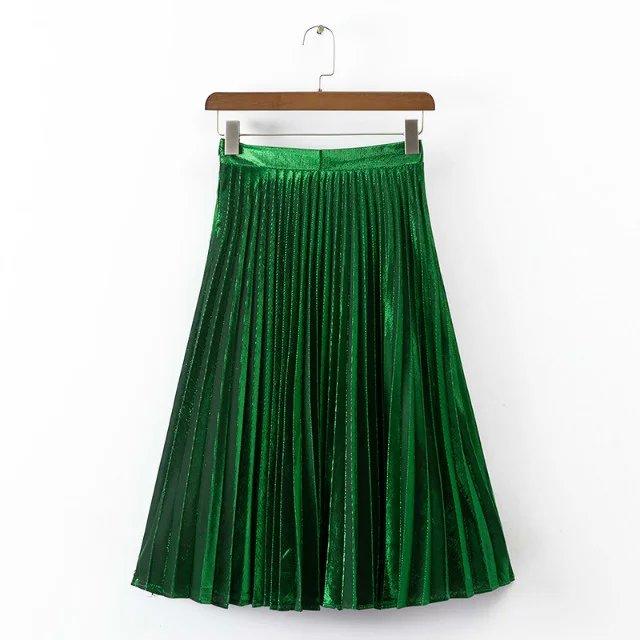 323558f4d Moda femenina plisada falda Hasta La Rodilla Verde rojo azul Brillo color  brillante SML venta caliente 2016 estilo europeo de las señoras Faldas ...