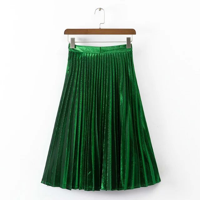 women fashion pleated skirt Knee-length Green red blue Shine bright color SML hot sale 2016 ladies european style Female Skirts