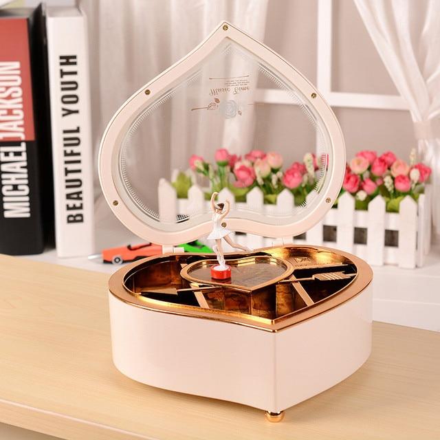 Heart Shape Dancing Ballerina Music Box Wood Mechanical Jewelry