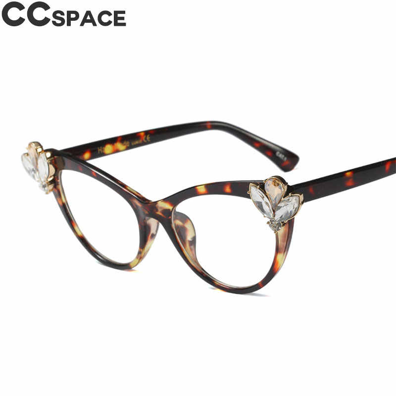 a2d5042706d5 ... Crystal Diamond Cat Eye Glasses Frames Women Large Rhinestone CCSPACE  Brand Designer Optical Fashion Computer Glasses ...