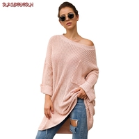 RAISEVERN New Long Sweater Coat Pulover Feminino Autumn Winter Women Knitted Jumper Thickened Irregular Long Sleeve Sweater