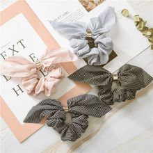 1Pcs Cute Rabbit Ear Striped Hair Accessories Elastic Hair Band Hair Rope Women Girls Rubber Band Tie Hair Scrunchies Hot Sale