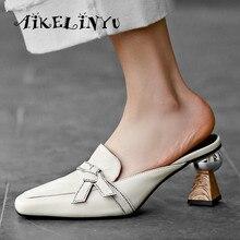 AIKELINYU Women Summer Shoes Pointed Toe Strange Heel Elegant  Asymmetrical Heels Wedge Sandals Ladies Slippers Size 34-42