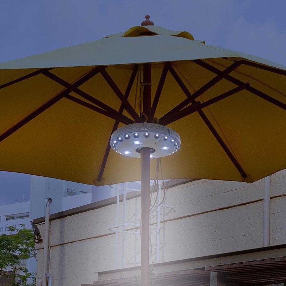 Outdoor Garden Black / White Cordless 28LED 3Mode Patio Umbrella Pole Light Camping Tent Lamp Yard Lawn Night Light