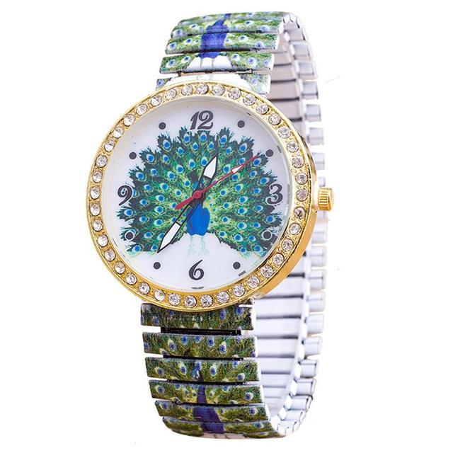 Fashion Luxury femme Elasticity Peacock Shrink Bracelet Watch Women Alloy Band Q