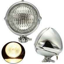 Chrome Black Motorcycle 4 inch Headlight Yellow Light Lamp For Harley Bobber Chopper