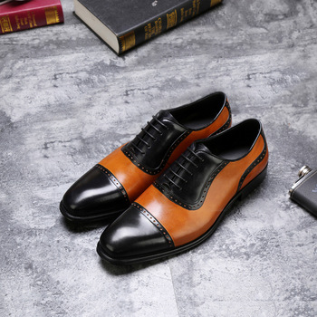 CH.KWOK Mixed Color Men Genuine Leather Single Oxfords Shoes Spring Autumn Lace Up Italian  Dress Oxfords Business Wedding Shoes