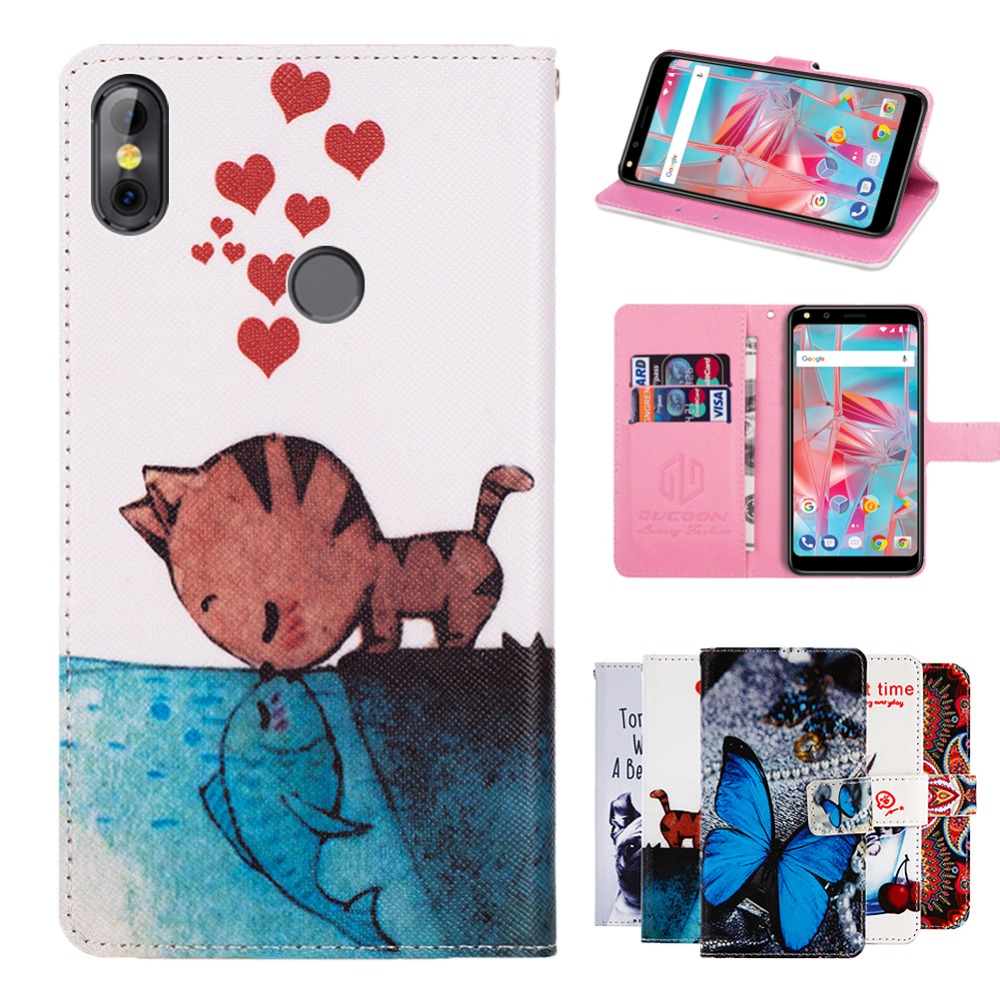 GUCOON Cartoon Wallet Case for BQ BQ-5301 Strike View 5.34inch Fashion PU Leather Lovely Cool Cover Cellphone Bag Shield