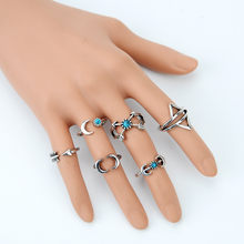 2017 New Fashion Vintage Bohemian Turkish Silver Ring Set Steampunk Snake Arrows Ring Knuckle Rings for Women Jewelry 6PCS/Set(China)