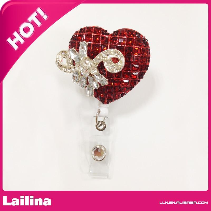 Rhinestone Retractable Badge Reel ID Badge Holder Brooch Pendant Id Badge Holder Red Sliver Pretty Heart