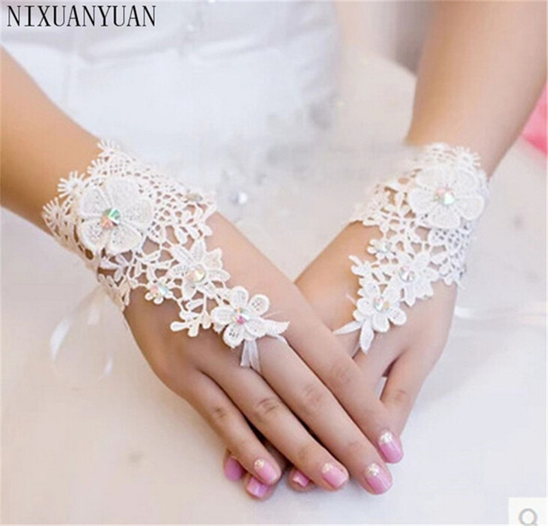 NIXUANYUAN Wholesale Hot Selling Beaded Lace Fingerless Wedding Gloves Wrist Length Bridal Gloves Cheap Price