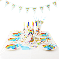 Disposable Unicorn Theme Tableware Set Mask Banner Plates Cup Napkin Unicornio Hat For Baby Shower Birthday Party Supply