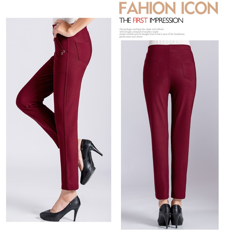 Women Casual Pants 2016 Autumn Middle Aged Womens Wine Red Dark Blue Black Khaki Trousers Mother  High Waist Pant XL 2XL 3XL 4XL Pantalones (12)