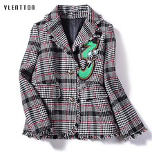 New Designer Vintage Houndstooth Tweed Womens Jacket Blazer Single Breasted Tassel Diamonds Blazers Coat Long Sleeve Outerwear
