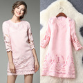 High Quality 2017 New Spring Dress Women Elegant Solid Color Embroidery Jacquard Three Quarter Sleeve Above Knee Dresses