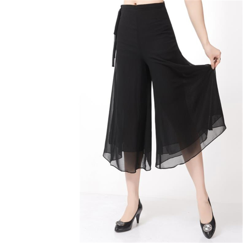 Woman Plus Size Loose Ankle-length Pants Female Summer Thin Straight Trousers Wide Leg Pants Capris Chiffon Skirts Falda Jupe