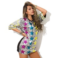 Summer New Sexy Sequined Women T Shirt Vestidos Glittering Stars Overszie DJ Rock Hip Hop T Shirts Tops Tee Dacne Clothes