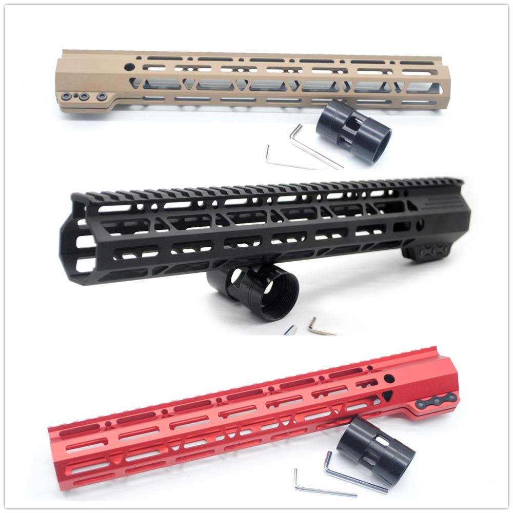 AR15 13.5'' Inch Tan/Black/Red Slim Free Float Clamping M-lok Handguard Picatinny Rail Free Shipping цена