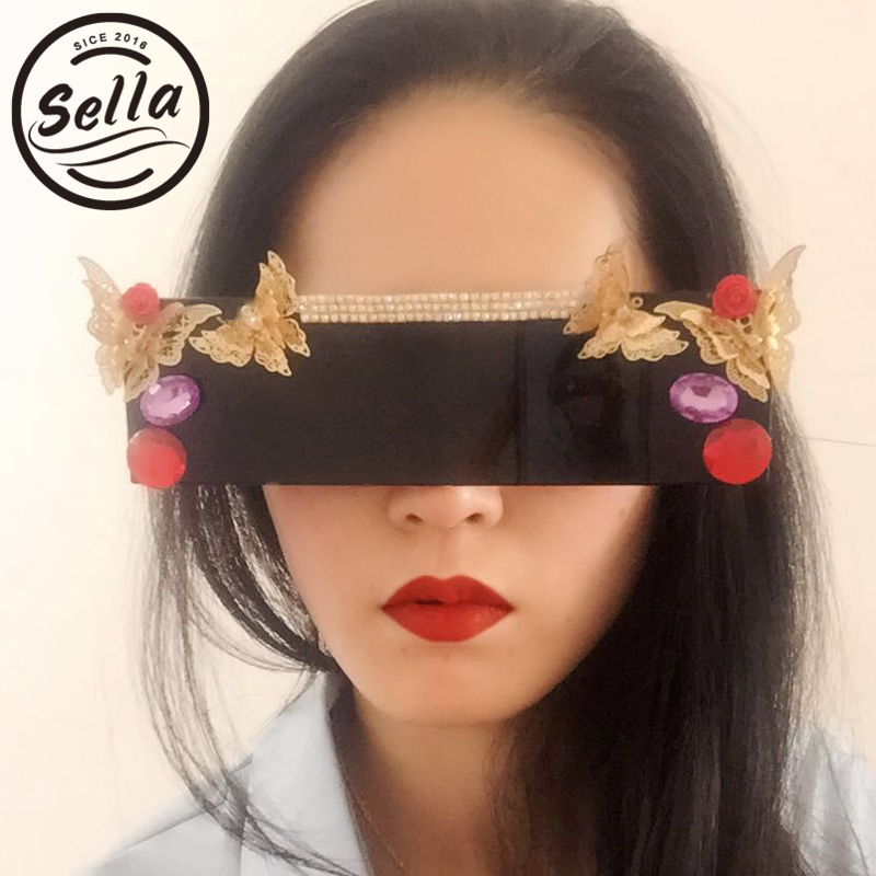 Sella 2017 Retro Supermodel Colorful Sunglasses Red Lens Flower Rhinestones Sun Glasses Personality Carved Exaggerated Eyewear