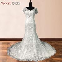 Short Sleeve Lace Wedding Dress 2017 Vestido De Noiva Sweep Train White Lace Bridal Gown