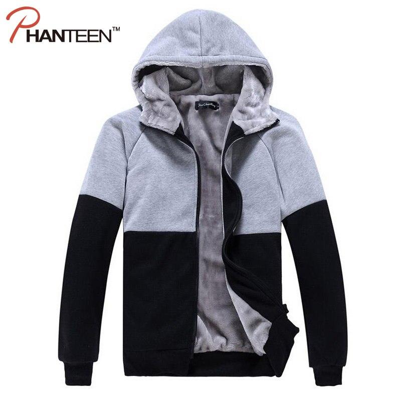 Phanteen Winter Thicken Wool Liner Zipper Man Hoodies Patchwork Hooded Cardigan Casual Cotton Outerwear Men Fashion Clothing