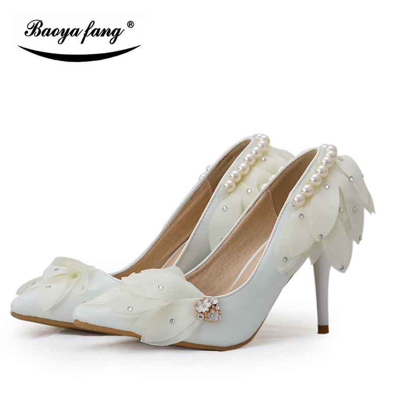 BaoYaFang white/Red flower Womens wedding shoes Bridesmaid lace dress shoes woman pointed toe 8cm low heel Pumps female shoes цены онлайн