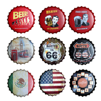 Beer Bottle Cap Vintage Tin Sign Bar Pub club Cafe Home Wall decoration Car Plates Metal Art Poster Retro Metal Round Plaque USA