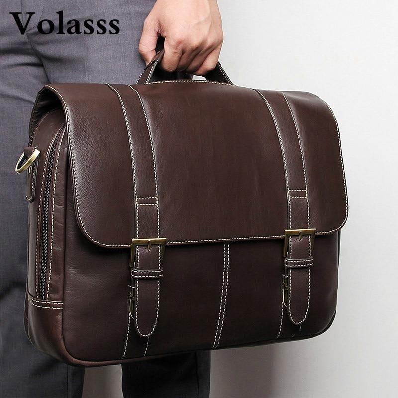 2019 Genuine Leather Men's Briefcase Messenger Bag Man Business Travel Bag Male Portfolio Luxury Handbags Office Bags For Men
