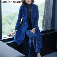 Woolen Two Piece Set 2019 New Style Double brested Long Wool Coat and Straight Wide Leg Pants Suits Women