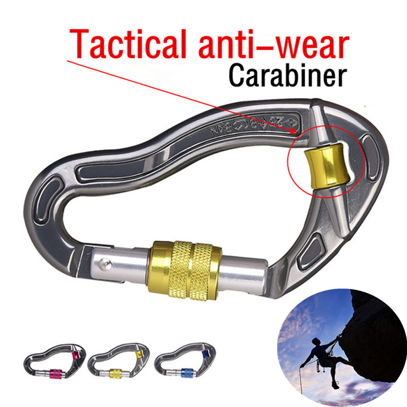 25KN Maximum tension Climbing Carabiner Outdoor Protection Screw Lock Rock Rappelling Tratical An-ti Wear Carabiner #3J#F цена