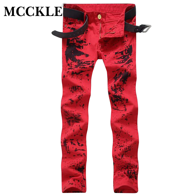 MCCKLE Fashion Mens Red Slim Fit Jeans Pants Flower Printed  Painted Denim Joggers Male Club Wear Straight Jean Trousers Q2688 brand designer mens embroidered jeans pants fashion painted denim joggers for male slim fit straight jean trousers ink splash