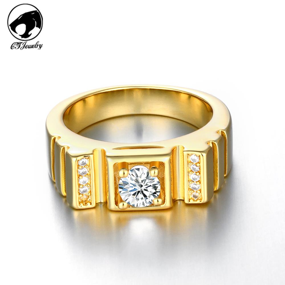 charm shiny accessory wedding rings 18k gold plated finger rings ...