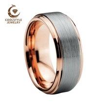 8mm Tungsten Carbide Wedding Band for Men Women Rose Gold Color Stepped Beveled Edges Silver Matte Top Comfort Fit