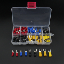 цена на 80pcs fork terminal Copper Crimp Connector Insulated Cord fork End Terminal set Wire terminals connector