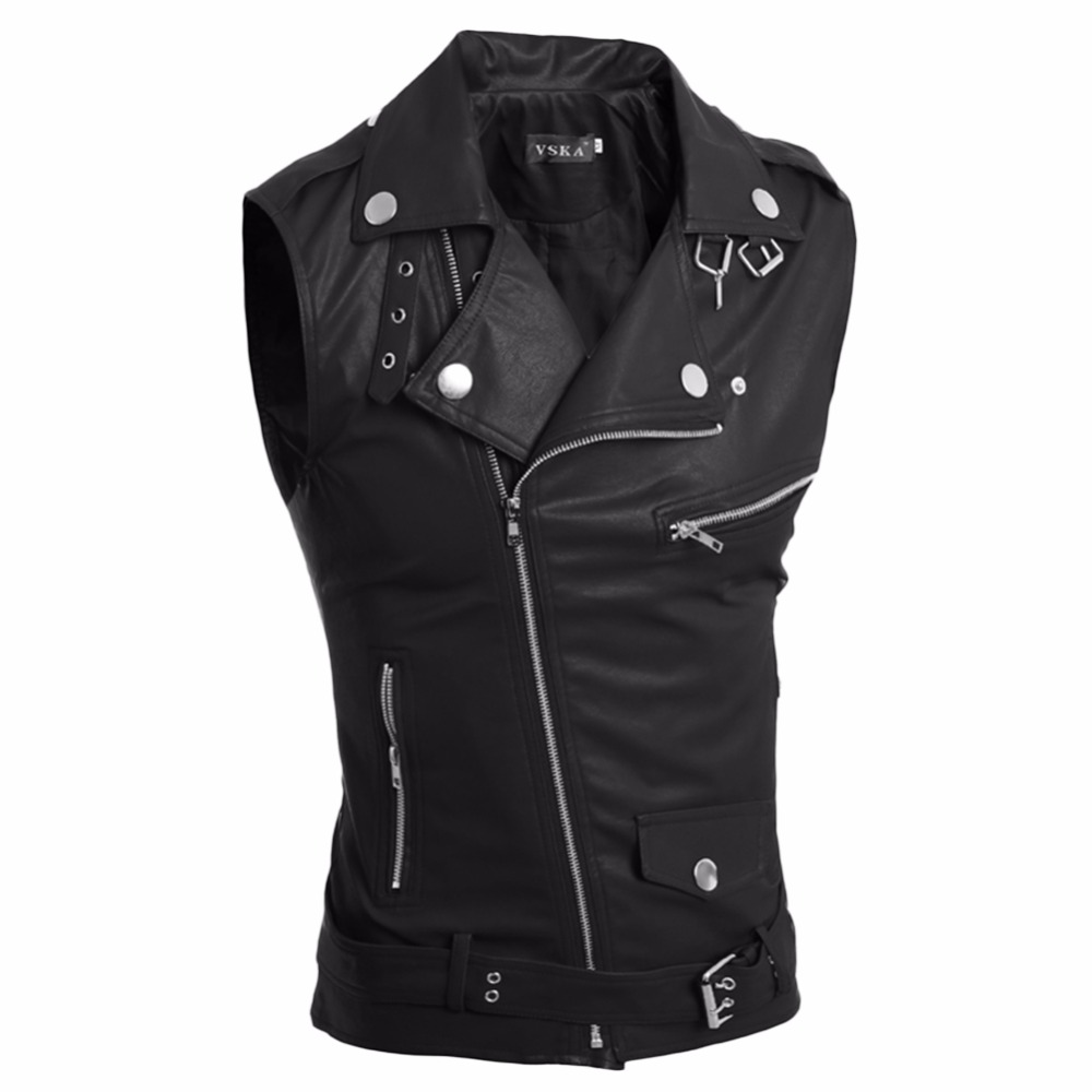 LANBAOSI Mens Faux Leather Jacket Vest fashion Solid Sleeveless Zipper Fly Biker Vest Male Punk Motorcycle Outerwears Coats