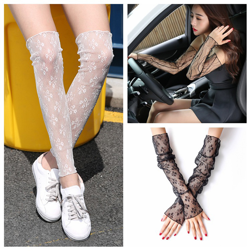La MaxPa Women Sun Protection Sleeves Mesh Lace UV Thin Long-sleeved Breathable Cycling Gloves Driving Arm Warmers Sleeves K2128