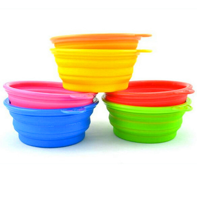 Pet Dog Food Collapsible Bowl Silicone Pad Foldable Cats Dog Feeders Feeding Candy Color Dog Supplies Bowl Travel Supplies 10