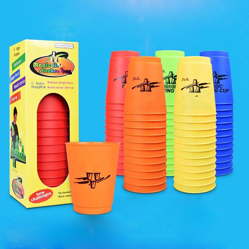 12 unids/set taza mágica juego usando los deportes competitivos Juguetes concurso creativo problemas su propio Juguetes mano deportes de velocidad