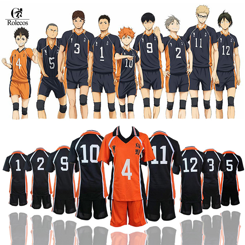 ROLECOS Haikyuu Cosplay Karasuno High School Volleyball Club Hinata Shyouyou Ropa deportiva Uniformes