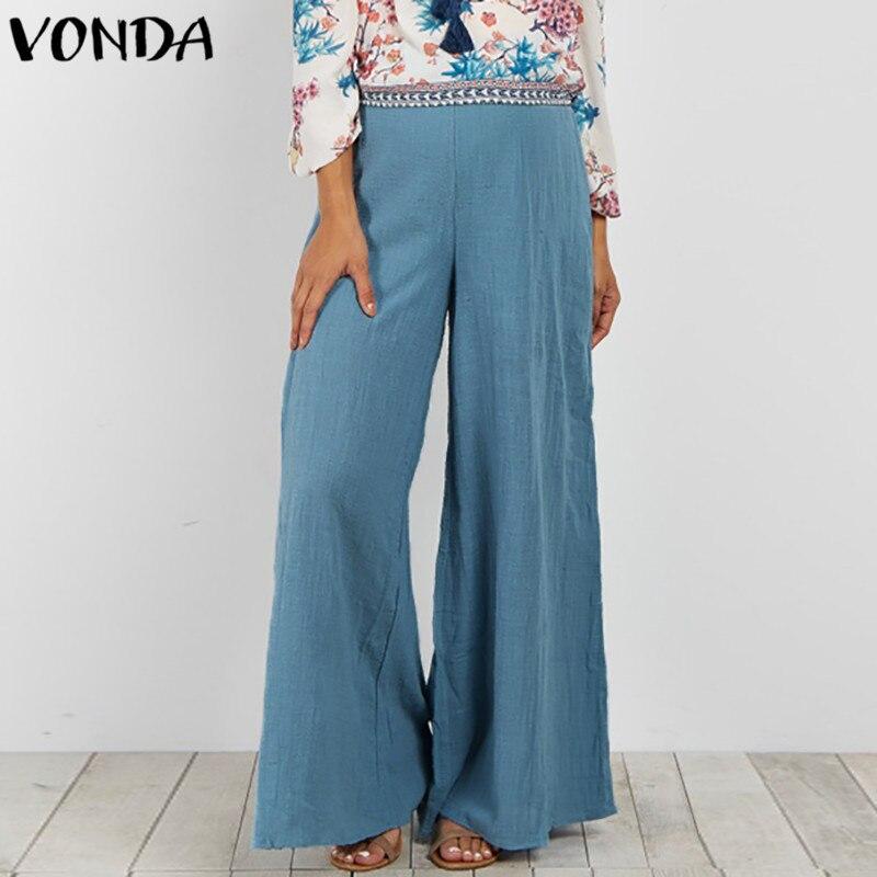2019 Summer Women   Wide     Leg     Pants   Elastic Waist 2 Layer Cotton   Pants   Casual Loose Elegant OL Fashion Trousers Plus Size S-5XL